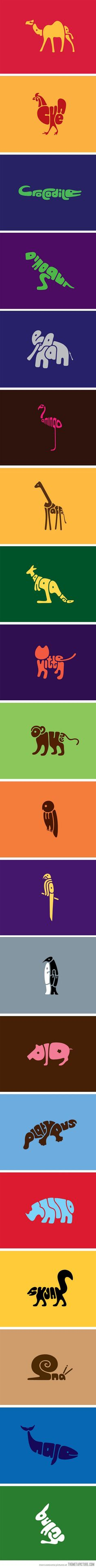 Word Animals- great for decorating a kid's room, or finding the letters with your little one.