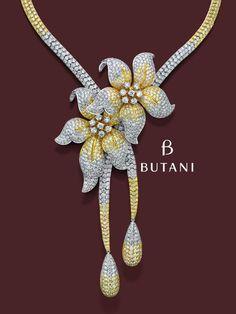 A Butani romantic and feminine flower necklace in pave setting #Butani #ButaniJewellery #Jewellery
