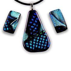 : ) Handmade gift Wearable Art Jewelry Set in Silver Blue