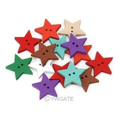NEW-100pcs-Mixed-Printed-2-Holes-Star-Wood-Sewing-Button-Scrapbooking