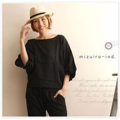 【mizuiro-ind ミズイロインド】volume crew neck P/O  ボリューム クルー ネック プルオーバー ブラウス (2-235206)