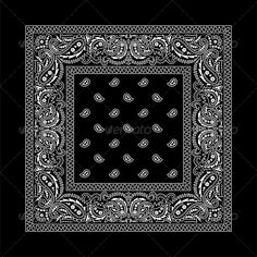 Buy Bandana - 2 (Black) by Malchev on GraphicRiver. Black bandana with white ornaments. No transparency and gradients used. AI, CDR, EPS and JPEG files. Bandana Tattoo, Bandana Print, Bandana Design, White Ornaments, Silk Screen Printing, Pattern Fashion, Vector Art, Print Patterns, Owls