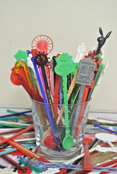 50pc Vintage Swizzle Stick GRAB BAG by TheSilverTuna on Etsy