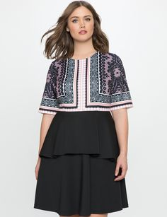 Printed Dress with Tiered Detail | Women's Plus Size Dresses | ELOQUII
