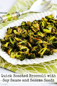 Roasted broccoli with soy sauce and sesame seeds