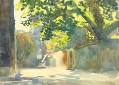 Sunlit Wall Under a Tree, c. 1913 John Singer Sargent