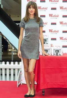 Alexa Chung with a new fringe and straight hair at It book signing in Westfield