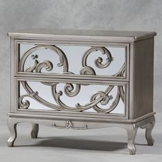 Antique Silver Mirror Fronted Rococo Large Chest of Drawers | Shades of Elegance
