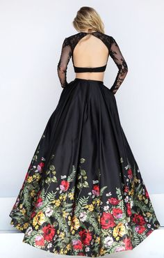 A multi-colored floral print border hemline adorns the ball gown skirt of this Sherri Hill 50599 black dress, completed with a long sleeved crop top. Lace overlays the sweetheart top, creating an illusion jewel neckline and a cutout back. The full-length, box pleated skirt has an inset waistband, concealed side seam pockets and a sweep train. - blouses, lace, saree, dress, button up, styles blouse *ad