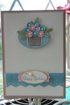 Stampin' Up! Cupcake Punch with a itty bitty flower punch, designer frames embossing folders & little leaves sizzlit to make this sweet flower pot card