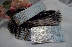 MINT Gorgeous Silver Tone Metal Fish Scale Belt Rectangle