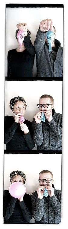 Photo booth announcement...have the doc poke a hole in the balloon that is not the color and later u and your hubby can record the reaction as you try the balloon you think it is!love this!!!
