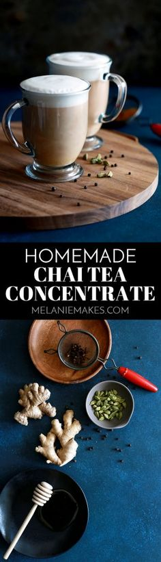 Not only does this Homemade Chai Tea Concentrate make your house smell amazing when you make it, but it also makes creating your favorite coffee house drink at home incredibly easy.  Peppercorns, cardamom, cloves and fennel seeds are toasted and then drowned in water.  Fresh ginger and black tea then join the fun before everything is then sweetened with honey and vanilla.