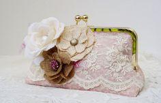 Pink Wedding Clutch / Bridesmaid Gift / by PetiteVintageBags