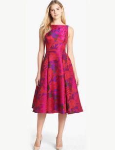 Adrianna Papell Cocktail Jacquard Floral Print A-Line Tea Length Dress