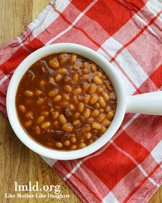 Delicious bbq beans made in the crock pot! #lmldfood