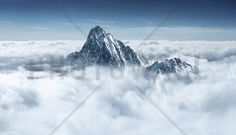 Alpine Mountain in the Clouds - Fototapeter & Tapeter - Photowall