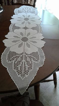 Hand made table runner by CrochetEmbroideyArt on Etsy