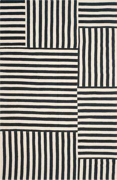 Tapis noirs et blancs : Tapis Canyon Stripe Patch (Ralph Lauren home).