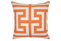 Graphic 22x22 Linen-Blend Pillow, Orange on OneKingsLane.com