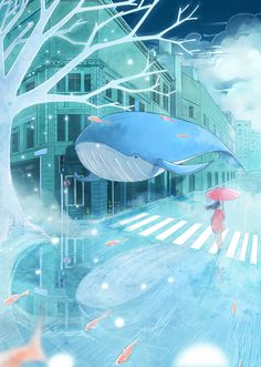 "Find and save images from the ""Anime/Manga Art: Blue"" collection by Plama_chan (Plama_chan) on We Heart It, your everyday app to get lost in what you love. Pretty Art, Cute Art, Manga Art, Anime Art, Superflat, Whale Art, Parasols, Poses References, Anime Scenery"