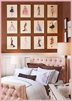 Too many pillows for me, but I like the artwork and the idea. :) Sophisticated.