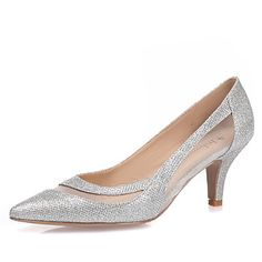 Women s Shoes Glitter Spring   Summer Heels Stiletto Heel Pointed Toe White    Black   Silver   Wedding   Party   Evening b43ea0f7885d