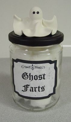 Ghost Farts Halloween Potion/Cotton Ball Jar/Bottle w/Polymer Clay Ghost Lid-