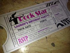 Vintage Rock Star Invitation Ticket / DIY Printable Birthday / Wedding / Bridal Shower / Bachelorette
