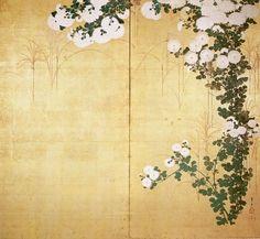 'Chrysanthemums', two-panel screen attributed to Ogata Korin - Ogata Kōrin — Wikipédia