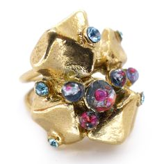 Vintage Gold Tone Nugget Foil Blue Glass Ornate Cocktail Ring | Clarice Jewellery | Vintage Costume Jewellery
