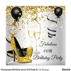 Shop Champagne Birthday party Gold high Heels Silver Invitation created by Zizzago. 50th Birthday Party Invitations, Elegant Birthday Party, Bachelorette Party Invitations, Quinceanera Invitations, 40th Birthday Parties, 50 Birthday, Fabulous Birthday, Champagne Birthday, Champagne Party