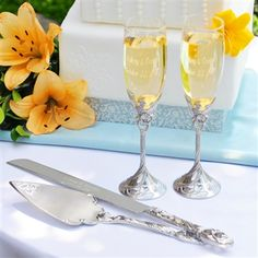 Champagne flutes and matching cake server set (Classy Bride)