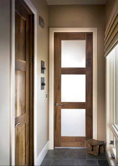Glass Door in Select Walnut - contemporary - interior doors - denver - by Sun Mountain, Inc. Contemporary Interior Doors, Modern Interior, Interior Design, Frosted Glass Interior Doors, Asian Interior Doors, 3 Panel Interior Doors, Frosted Glass Pantry Door, Interior Trim, Door Design