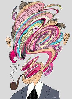 Illustration By Steve Cutts Art And Illustration, Portrait Illustration, Acid Art, Love Backgrounds, Portrait Inspiration, Trippy, Stevia, Psychedelic, Line Art