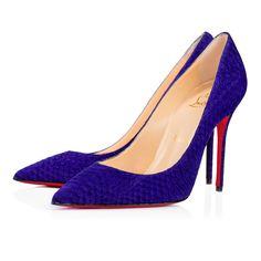 CHRISTIAN LOUBOUTIN Decollete 554 100 Watersnake Nabuck Watersnake 100 Purple Pop Watersnake - Women Shoes - Christian L. #christianlouboutin #shoes #