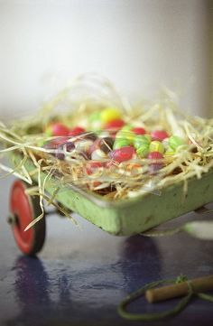 Easter delights in vintage wagon..adore!