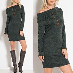 KAYDEN off shoulder dress - DEEP OLIVE Super soft, sophisticated dress. Make a statement with this understated beauty. NO TRADE Dresses Long Sleeve