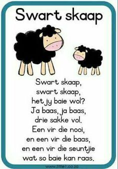 Swart skaap Preschool Learning Activities, Preschool Worksheets, Kids Learning, African Poems, Grade R Worksheets, Afrikaans Language, School Songs, Kids Poems, Afrikaans Quotes
