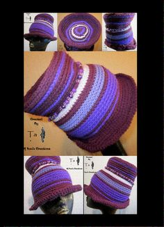 """Ioni's Creations        PF004 - Oval Top Hat in Shades of Purple with String of Purple Beads    Say goodbye to spring with this top hat fedora crocheted in shades of purple.    Hat size 22 """"  7"""" Tall (including foldover in brim which is tacked in)  6 1/2"""" Diameter across the top  Crocheted in single thread      Made and Designed by Ta Ankh of Ioni's Creations    $45.00    To Purchase, press this link:  https://www.etsy.com/listing/86752868/shades-of-purple-hat-with-beads"""