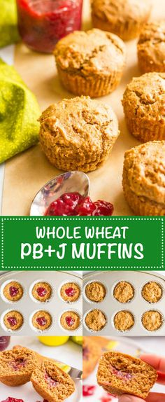 Healthy peanut butter and jelly muffins are whole wheat and naturally sweetened, with no butter or oil but plenty of peanut butter flavor and a fun jelly center! A fun kids breakfast, snack or school lunch addition! | www.familyfoodonthetable.com