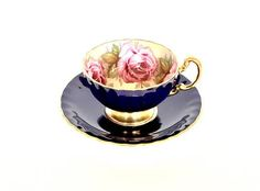 Aynsley Tea Cup Cabbage Rose Cobalt Blue Gold English Bone