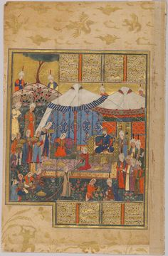 Preparations for the Wedding of Farangis and Siyavush (painting, recto; text, verso), folio from a manuscript of the Shahnama by Firdawsi Classification Manuscripts Work Type manuscript folio Date 1562 Places Creation Place: Middle East, Iran, Shiraz Period Safavid period Culture Persian