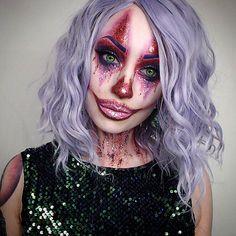 Party clown glitter makeup Halloween ideas IG @TheTrashMask