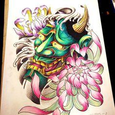 青綠藍般若#般若刺青 #tattoo #taiwan Japanese Mask, Japanese Tattoo Art, Japanese Tattoo Designs, Hannya Mask Tattoo, Hanya Tattoo, Skull Tattoos, Body Art Tattoos, Tattoo Sketches, Tattoo Drawings