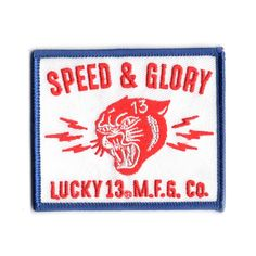 lucky 13 patch badge Panther Head Speed Glory Red White Blue Hot Rod Race Biker Drag Racing, Red White Blue, Panther, Hot Rods, Badge, Biker, Ebay, Badges, Street Rods