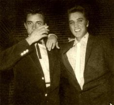 November 17, 1955 ~ Elvis and Johnny Cash performed seperately at the Arkansas Municipal Auditorium ~  Texarkana, Arkansas . Photo was taken that evening.