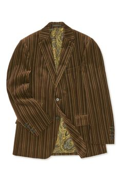 Cut in the finest Italian velvet with tonal stripes, this two-button single-breasted jacket makes a striking statement. Single Breasted, Stripes, Velvet, Blazer, House Styles, Jackets, Men, Clothes, Fashion