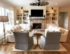 Astonishing Tips: Small Living Room Remodel Ceilings living room remodel with fireplace furniture arrangement.Small Living Room Remodel Toilets living room remodel before and after hardwood floors. Sunken Living Room, Living Room Cabinets, Small Living Room, Living Room Arrangements, Living Room Diy, Room Remodeling, Family Room Layout, Living Decor, Furniture Layout
