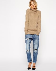 Image 4 of ASOS Sweater in Brushed Alpaca With Roll Neck